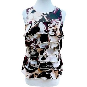 Ann Taylor Sleeveless Tiered Ruffled Floral Top 4